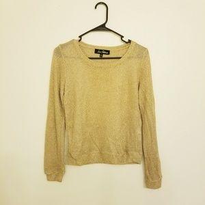 Sam Edelman See through Gold glitter Sweatshirt